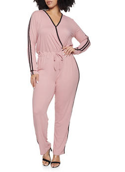 Plus Size Varsity Stripe Soft Knit Jumpsuit - 1392058752795