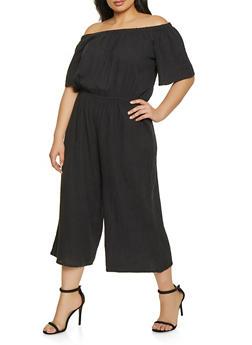 06b413038d5 Plus Size Off the Shoulder Cropped Gaucho Jumpsuit - 1392058752802