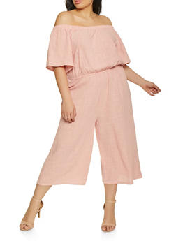Plus Size Off the Shoulder Cropped Gaucho Jumpsuit - 1392058752802