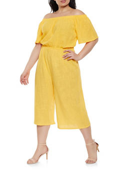 1ca1701cffdd Plus Size Off the Shoulder Cropped Gaucho Jumpsuit - 1392058752802
