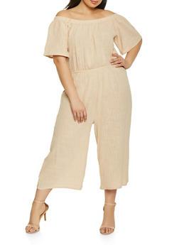 Plus Size Off the Shoulder Cropped Gaucho Jumpsuit - 1392058752802