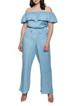 Plus Size Ruffle Off the Shoulder Jumpsuit - 1392058752820