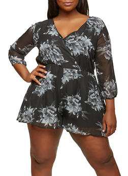 Plus Size Floral Romper with Sleeves - 1392058752870