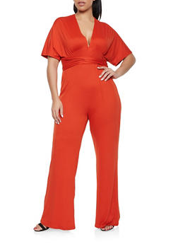 Plus Size V Neck Jumpsuit - 1392058753259