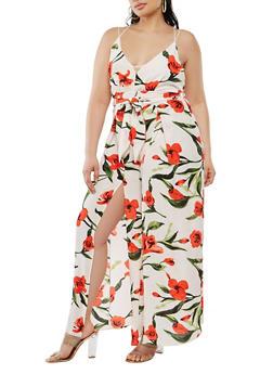 Plus Size Floral Jumpsuit - 1392058753522