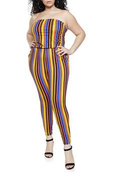 Plus Size Striped Tube Jumpsuit - 1392058753886