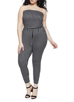 Plus Size Striped Ruched Jumpsuit - 1392058754031