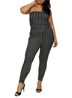 Plus Size Striped Strapless Jumpsuit - 1392058754032