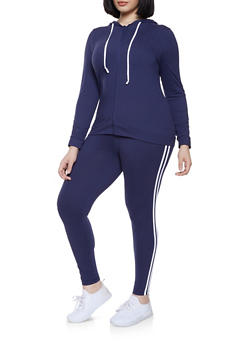 Plus Size Varsity Stripe Zip Front Sweatshirt and Leggings Set - 1392061630131