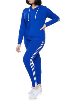 d876a0108ba58 Plus Size Varsity Stripe Zip Front Sweatshirt and Leggings Set -  1392061630131