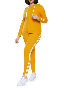 Plus Size Varsity Stripe Zip Front Sweatshirt and Leggings Set - 1392061630131