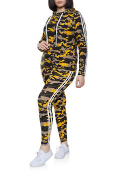 Plus Size Varsity Stripe Camo Top with Leggings - 1392061630153