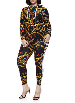 bc5b0bd3ad8 Plus Size Chain Print Hooded Top and Leggings Set - 1392061630155