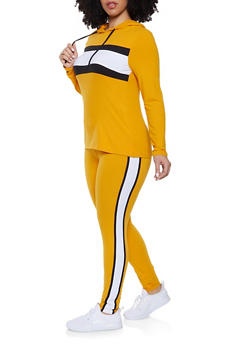 Plus Size Stripe Detail Hooded Top with Leggings - 1392061630156