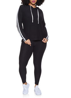 Plus Size Varsity Stripe Hooded Top and Leggings - 1392061631269