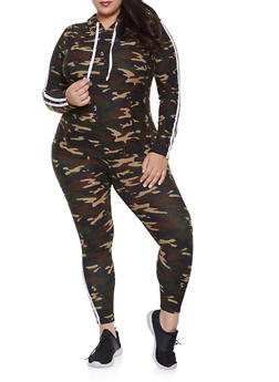 Plus Size Camo Hooded Top and Leggings Set - 1392061631279