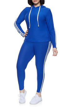 Plus Size Hooded Varsity Stripe Top and Leggings Set - 1392061631549
