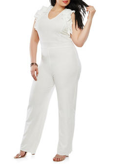 Plus Size Ruffle Trim Jumpsuit - 1392062128961