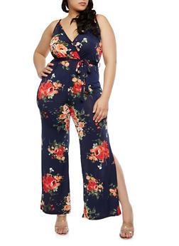 Plus Size Faux Wrap Floral Jumpsuit - 1392074012019