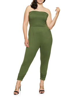 Plus Size Ruched Tube Jumpsuit - 1392075171058
