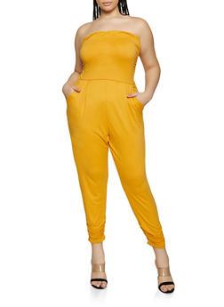 Plus Size Ruched Tube Jumpsuit - 1392075171058