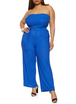 Plus Size Belted Strapless Jumpsuit - 1392075171217