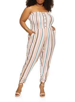 Plus Size Printed Smocked Tube Jumpsuit - 1392075171245