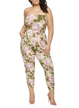 Plus Size Tie Dye Strapless Jumpsuit - 1392075172037