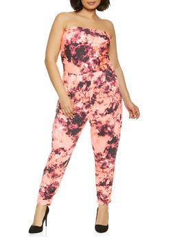 Plus Size Tie Dye Strapless Jumpsuit - 1392075172037