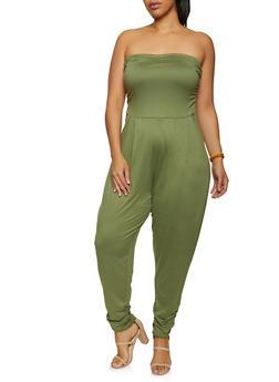 Plus Size Soft Knit Ruched Tube Jumpsuit - 1392075172058