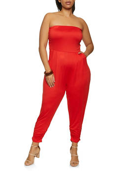 Plus Size Soft Knit Ruched Tube Jumpsuit - 1392075172058