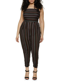 Plus Size Ruched Striped Tube Jumpsuit - 1392075173037