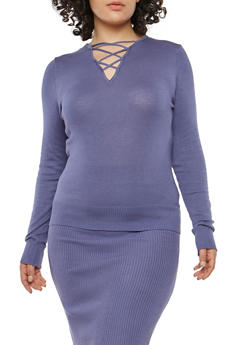 Plus Size Caged Neck Sweater - 1393038340112