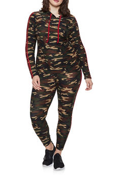 9ca9b482620 Plus Size Hooded Camo Top and Leggings Set - RED - 1393061631261