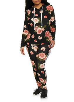 Plus Size Floral Hooded Top and Leggings Set - 1393061631262