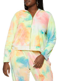 Plus Size Tie Dye Velour Hooded Top - 1394075170106