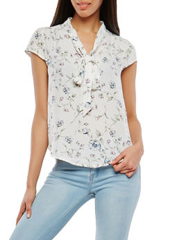 Floral Tie Neck Top - 1401054211371
