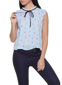 Floral Striped Blouse - 1401054211412