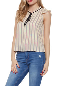 Striped Tie Neck Blouse - 1401054211416