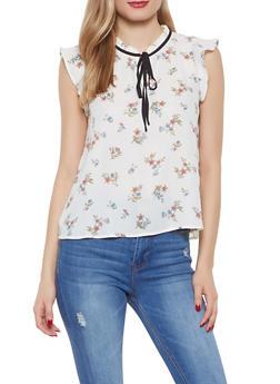 Floral Tie Neck Blouse - 1401054211417
