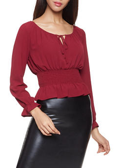 Smocked Waist Blouse - 1401054211455