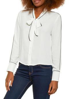 Tie Neck Button Front Blouse - 1401054211491