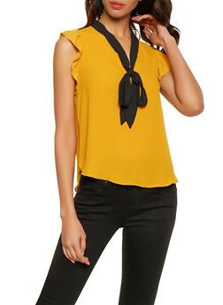 c3e9d0948bd28b Flutter Sleeve Tie Neck Blouse - 1401054211534