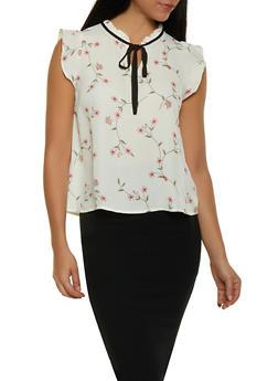 Floral Tie Neck Blouse - 1401054211720