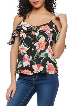 Floral Cold Shoulder Top - 1401054212125