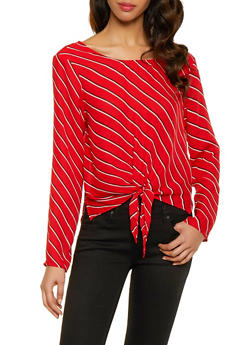 Striped Tie Front Top - 1401054212512