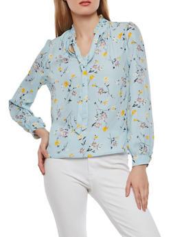 Floral Tie Neck Blouse - 1401054213231