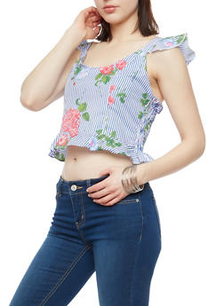 Striped Floral Ruffle Bottom Crop Top - 1401054213501