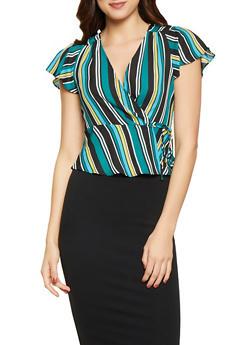 Striped Wrap Top - 1401054213724