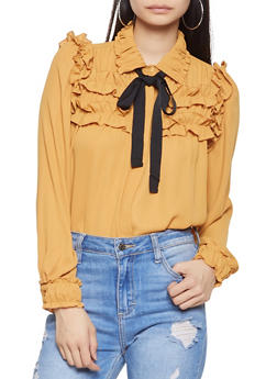 Ruffled Tie Neck Blouse - 1401054214641